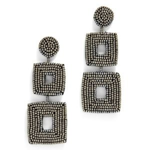 Kenneth Jay Lane Double-Square Bead Earrings